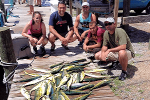 This family enjoyed an Outer Banks offshore fishing excursion for mahi.